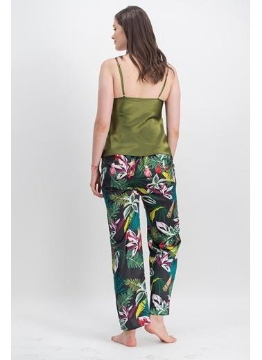 Arnetta Arnetta Amazon Parrot Haki Kadın Askılı Saten Pijama Takımı, Sabahlık 3'Lü Takım Yeşil
